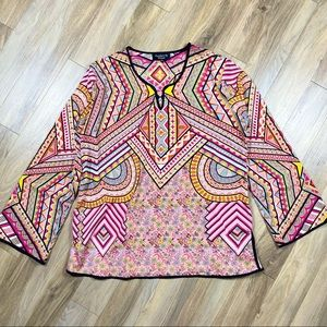Feathers by Tolani Patterned Boho Print Top Blouse